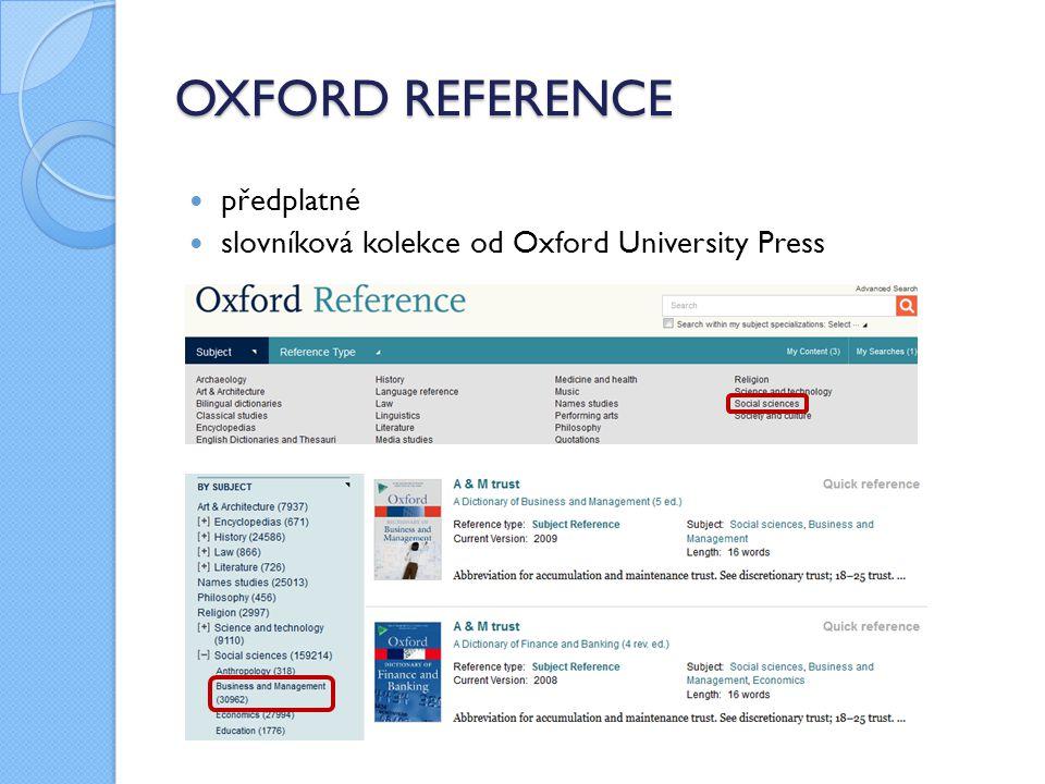 OXFORD REFERENCE předplatné slovníková kolekce od Oxford University Press
