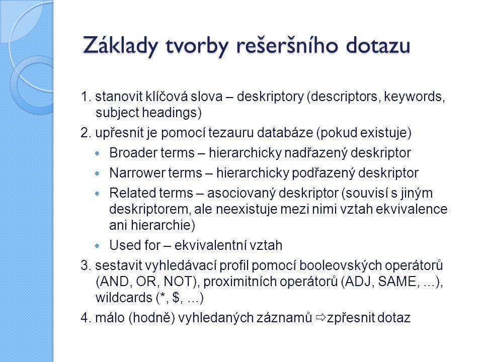 Základy tvorby rešeršního dotazu 1. stanovit klíčová slova – deskriptory (descriptors, keywords, subject headings) 2. upřesnit je pomocí tezauru datab