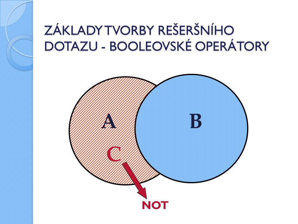 ZÁKLADY TVORBY REŠERŠNÍHO DOTAZU - BOOLEOVSKÉ OPERÁTORY NOT A B C