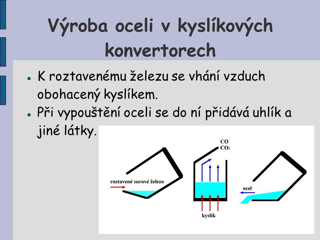 Výroba oceli v kyslíkových konvertorech K roztavenému železu se vhání vzduch obohacený kyslíkem.