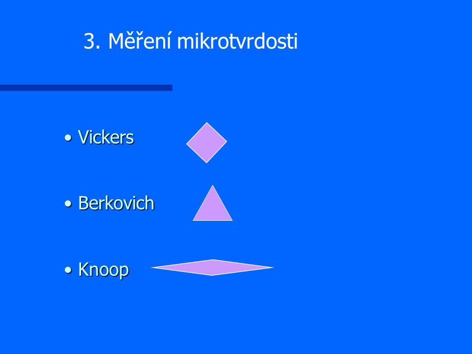 Vickers Berkovich Knoop Vickers Berkovich Knoop 3. Měření mikrotvrdosti