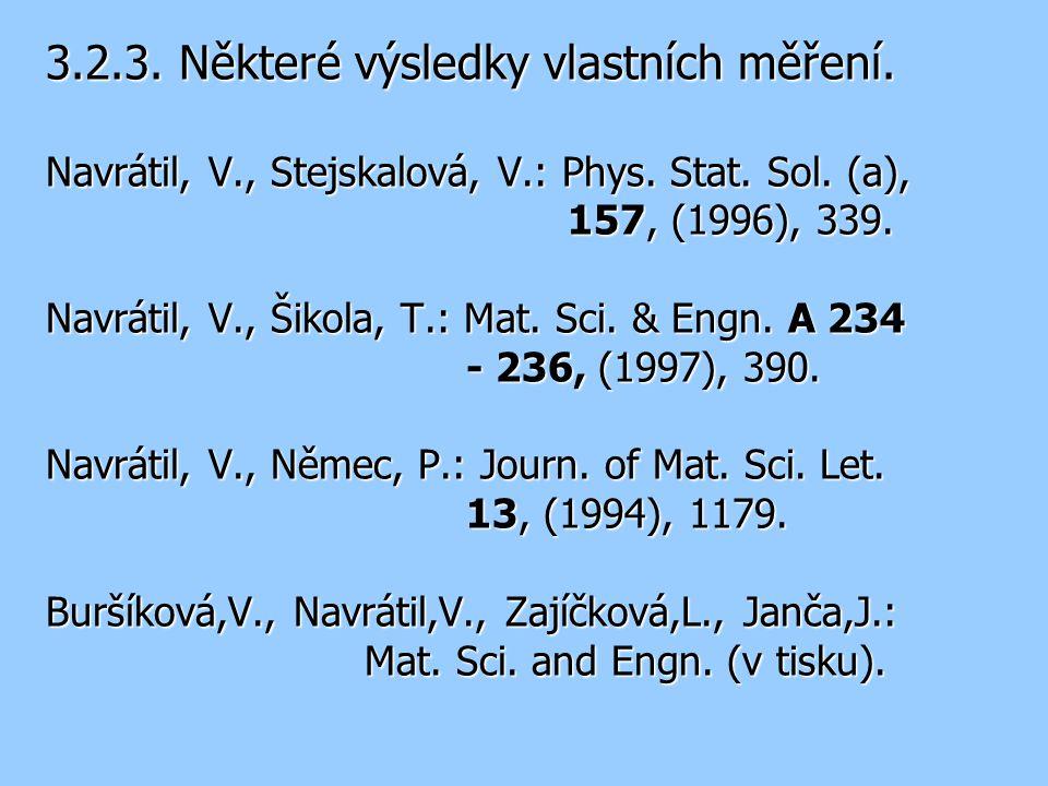 3.2.3. Některé výsledky vlastních měření. Navrátil, V., Stejskalová, V.: Phys. Stat. Sol. (a), 157, (1996), 339. Navrátil, V., Šikola, T.: Mat. Sci. &