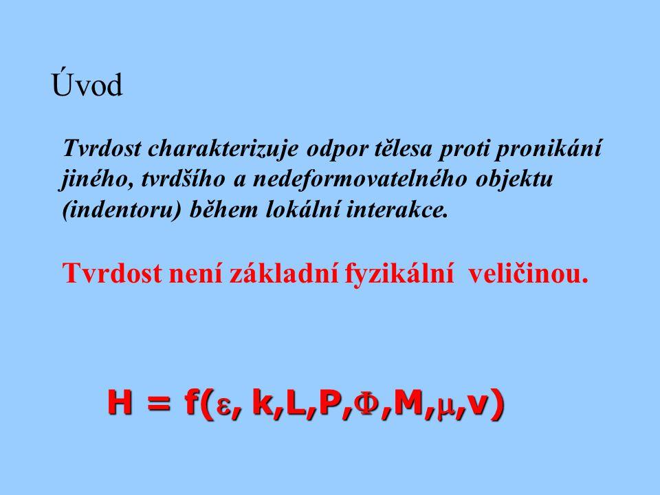 H = f(,k,L,P,,M,,v) Tvrdost charakterizuje odpor tělesa proti pronikání jiného, tvrdšího a nedeformovatelného objektu (indentoru) během lokální in