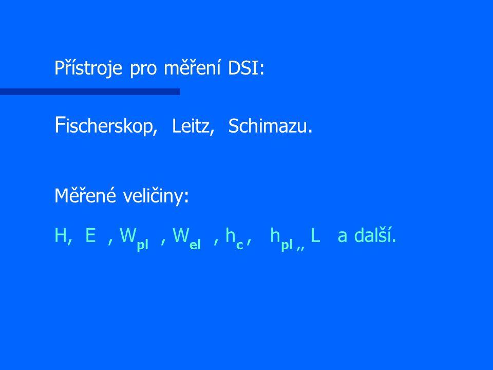 F ischerskop, Leitz, Schimazu. Měřené veličiny: H, E, W pl, W el, h c, h pl,, L a další. Přístroje pro měření DSI: