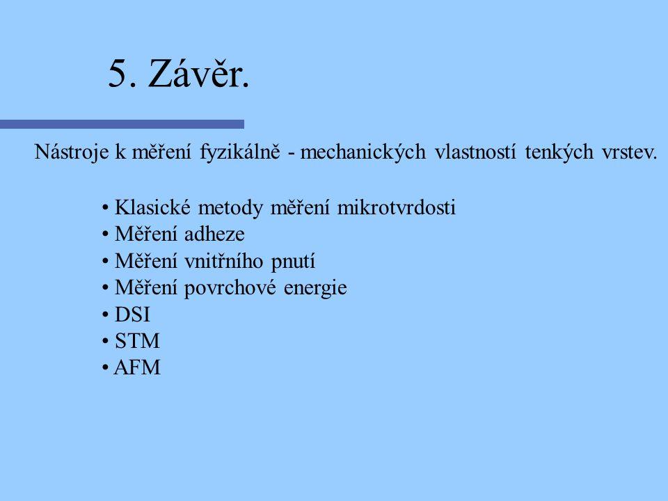 Nástroje k měření fyzikálně - mechanických vlastností tenkých vrstev. 5. Závěr. Klasické metody měření mikrotvrdosti Měření adheze Měření vnitřního pn