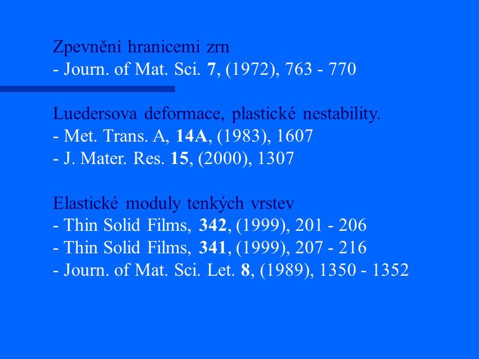 Zpevnění hranicemi zrn - Journ. of Mat. Sci. 7, (1972), 763 - 770 Luedersova deformace, plastické nestability. - Met. Trans. A, 14A, (1983), 1607 - J.