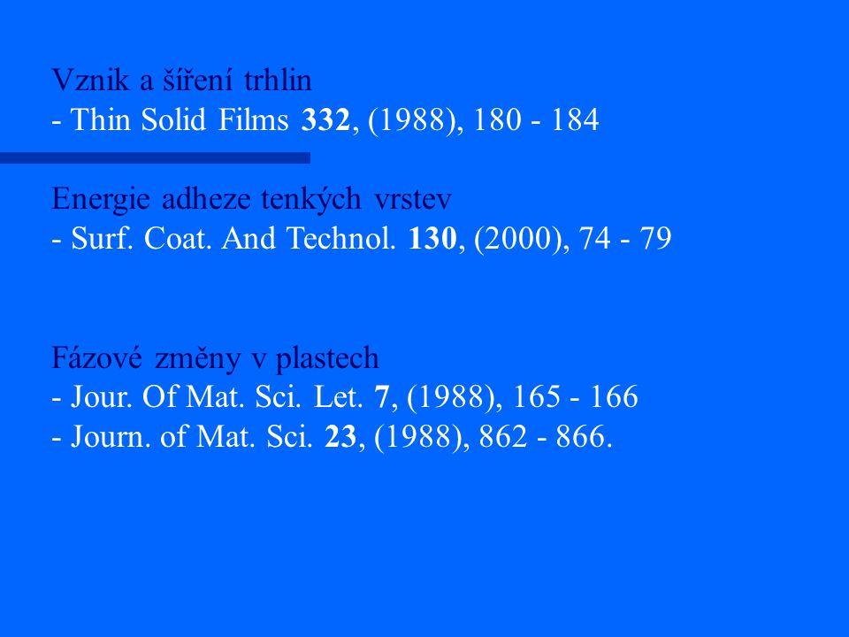 Vznik a šíření trhlin - Thin Solid Films 332, (1988), 180 - 184 Energie adheze tenkých vrstev - Surf. Coat. And Technol. 130, (2000), 74 - 79 Fázové z