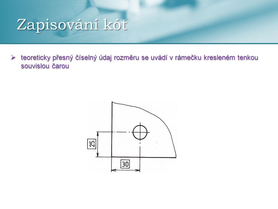 Zapisování kót  teoreticky přesný číselný údaj rozměru se uvádí v rámečku kresleném tenkou souvislou čarou