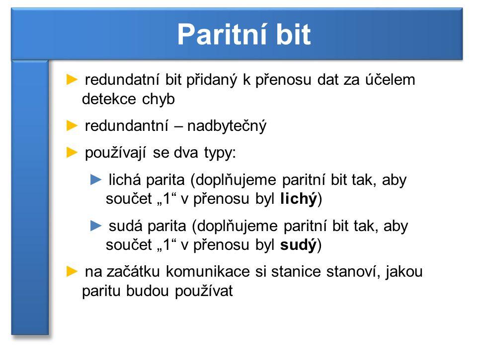 """► redundatní bit přidaný k přenosu dat za účelem detekce chyb ► redundantní – nadbytečný ► používají se dva typy: ► lichá parita (doplňujeme paritní bit tak, aby součet """"1 v přenosu byl lichý) ► sudá parita (doplňujeme paritní bit tak, aby součet """"1 v přenosu byl sudý) ► na začátku komunikace si stanice stanoví, jakou paritu budou používat Paritní bit"""