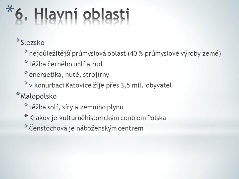 * Slezsko * nejdůležitější průmyslová oblast (40 % průmyslové výroby země) * těžba černého uhlí a rud * energetika, hutě, strojírny * v konurbaci Kato