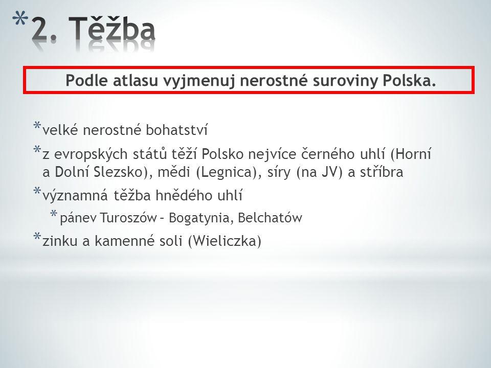 * velké nerostné bohatství * z evropských států těží Polsko nejvíce černého uhlí (Horní a Dolní Slezsko), mědi (Legnica), síry (na JV) a stříbra * výz