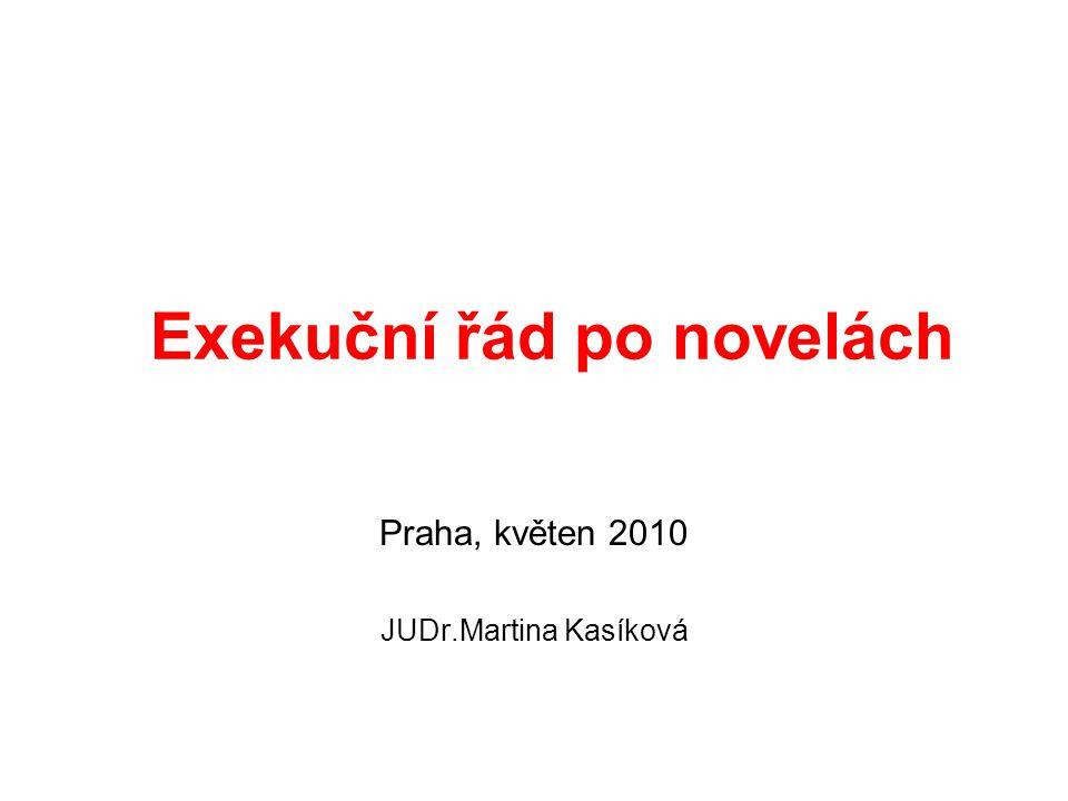 Exekuční řád po novelách Praha, květen 2010 JUDr.Martina Kasíková