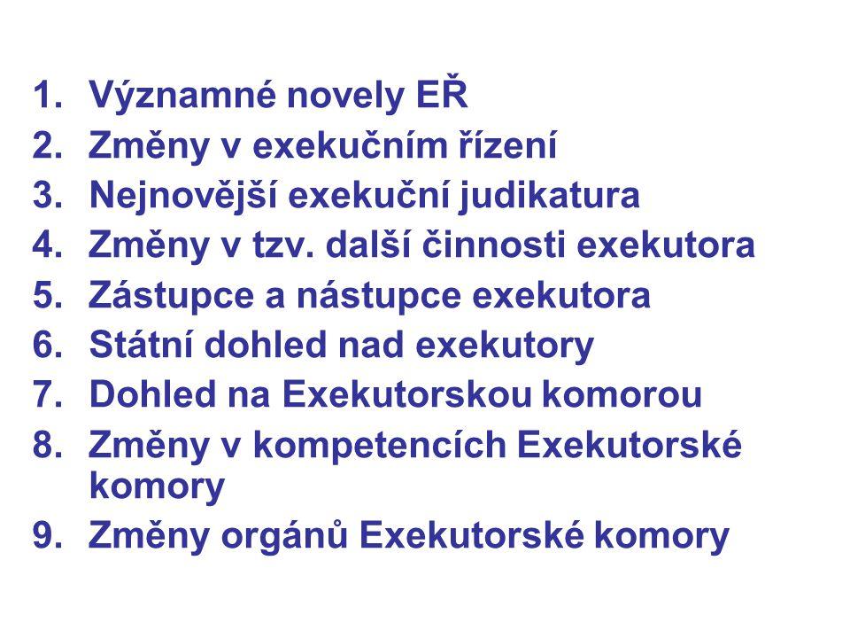 1.Významné novely EŘ 2.Změny v exekučním řízení 3.Nejnovější exekuční judikatura 4.Změny v tzv.