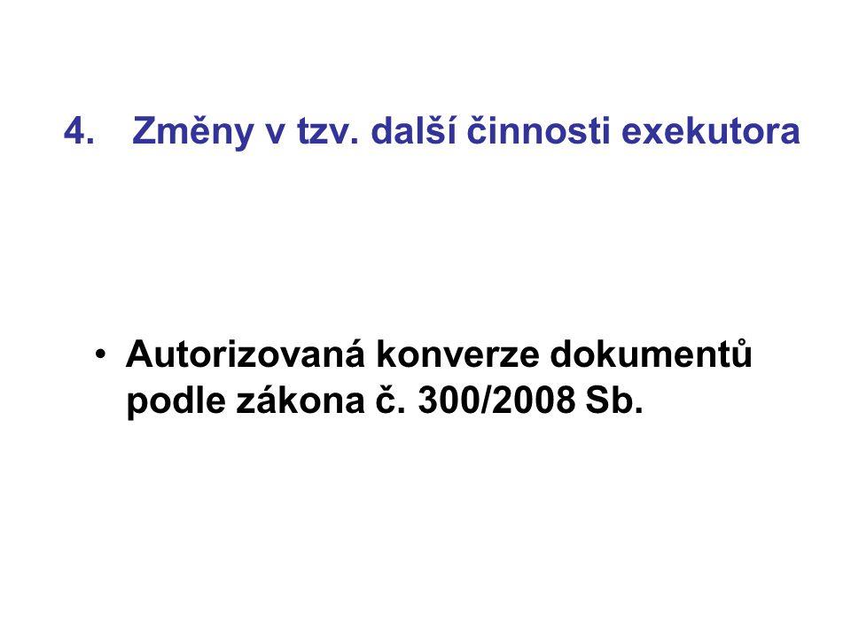 4.Změny v tzv. další činnosti exekutora Autorizovaná konverze dokumentů podle zákona č.