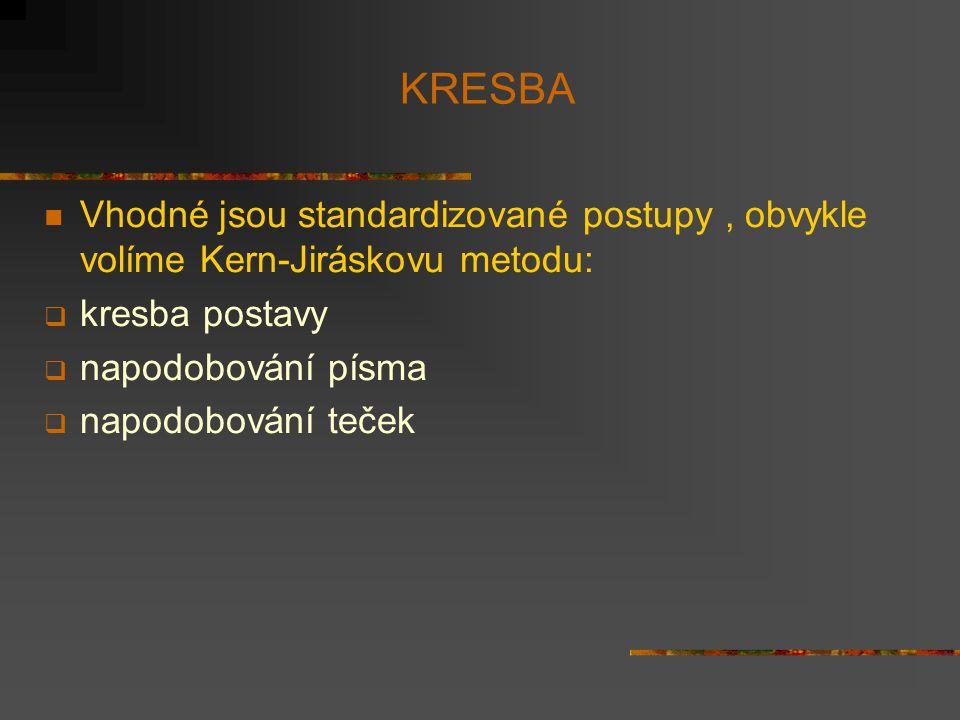 KRESBA Vhodné jsou standardizované postupy, obvykle volíme Kern-Jiráskovu metodu:  kresba postavy  napodobování písma  napodobování teček