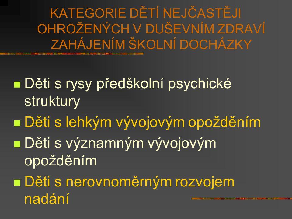 KATEGORIE DĚTÍ NEJČASTĚJI OHROŽENÝCH V DUŠEVNÍM ZDRAVÍ ZAHÁJENÍM ŠKOLNÍ DOCHÁZKY Děti s rysy předškolní psychické struktury Děti s lehkým vývojovým op
