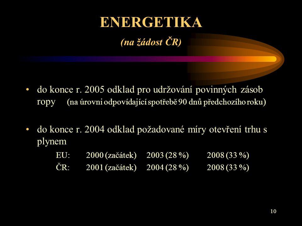 10 ENERGETIKA (na žádost ČR) do konce r.