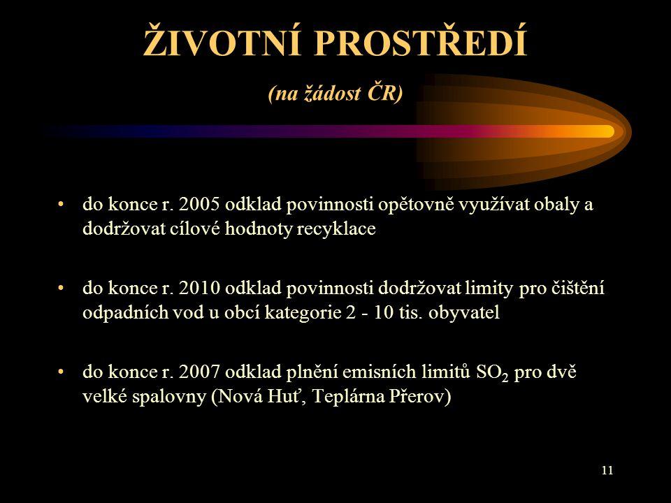11 ŽIVOTNÍ PROSTŘEDÍ (na žádost ČR) do konce r.