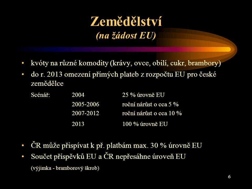 6 Zemědělství (na žádost EU) kvóty na různé komodity (krávy, ovce, obilí, cukr, brambory) do r.