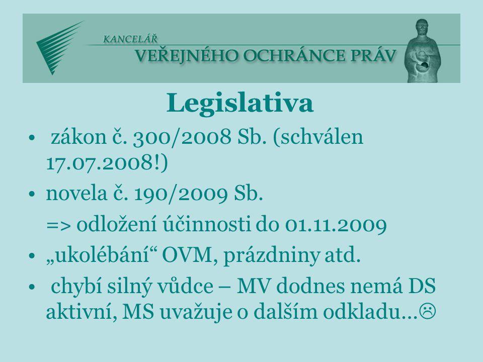 """Legislativa zákon č. 300/2008 Sb. (schválen 17.07.2008!) novela č. 190/2009 Sb. = ˃ odložení účinnosti do 01.11.2009 """"ukolébání"""" OVM, prázdniny atd. c"""