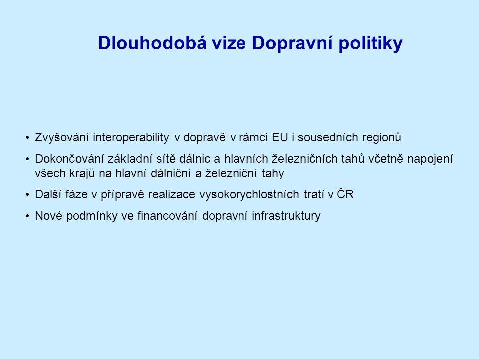 Dlouhodobá vize Dopravní politiky Zvyšování interoperability v dopravě v rámci EU i sousedních regionů Dokončování základní sítě dálnic a hlavních žel
