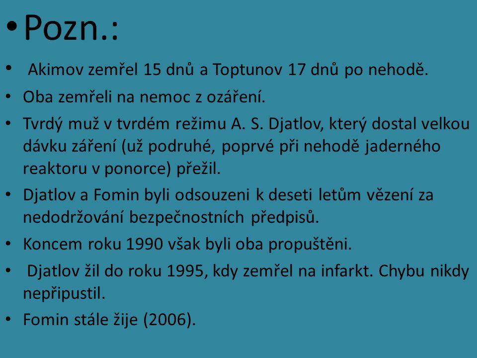 Pozn.: Akimov zemřel 15 dnů a Toptunov 17 dnů po nehodě. Oba zemřeli na nemoc z ozáření. Tvrdý muž v tvrdém režimu A. S. Djatlov, který dostal velkou