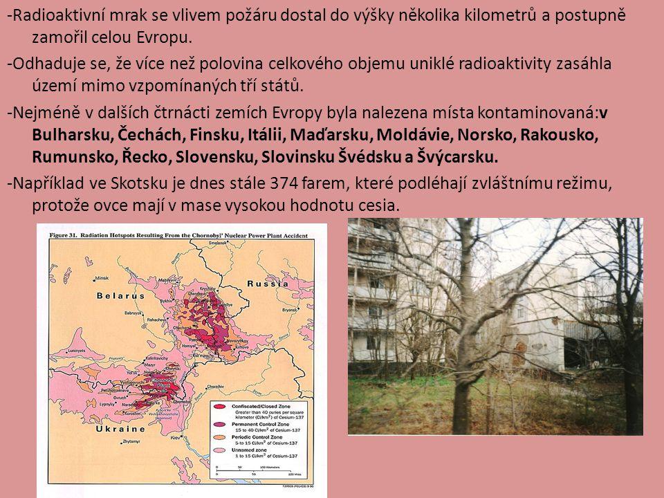 -Radioaktivní mrak se vlivem požáru dostal do výšky několika kilometrů a postupně zamořil celou Evropu. -Odhaduje se, že více než polovina celkového o