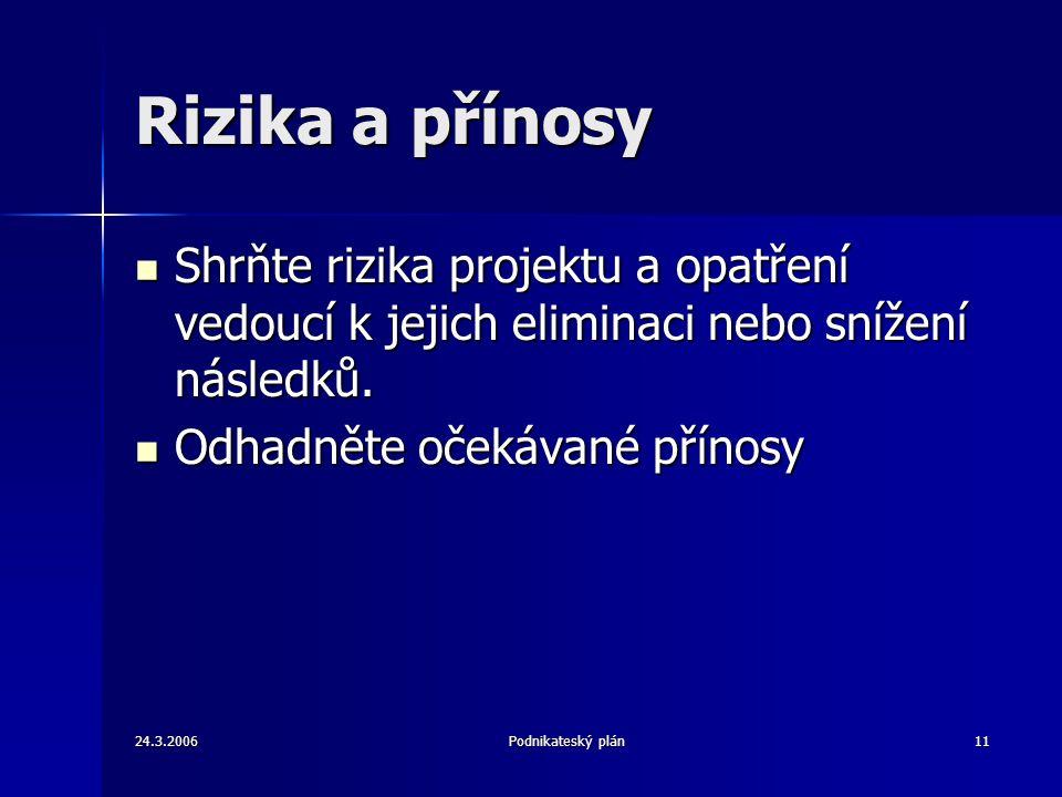 24.3.2006Podnikateský plán11 Rizika a přínosy Shrňte rizika projektu a opatření vedoucí k jejich eliminaci nebo snížení následků. Shrňte rizika projek