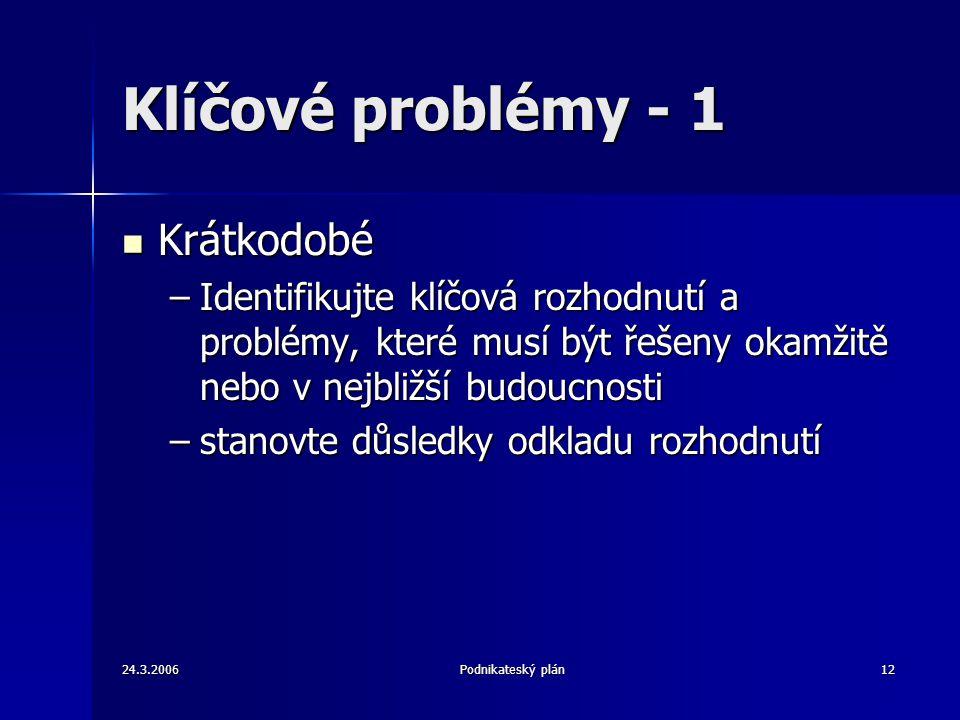 24.3.2006Podnikateský plán12 Klíčové problémy - 1 Krátkodobé Krátkodobé –Identifikujte klíčová rozhodnutí a problémy, které musí být řešeny okamžitě n