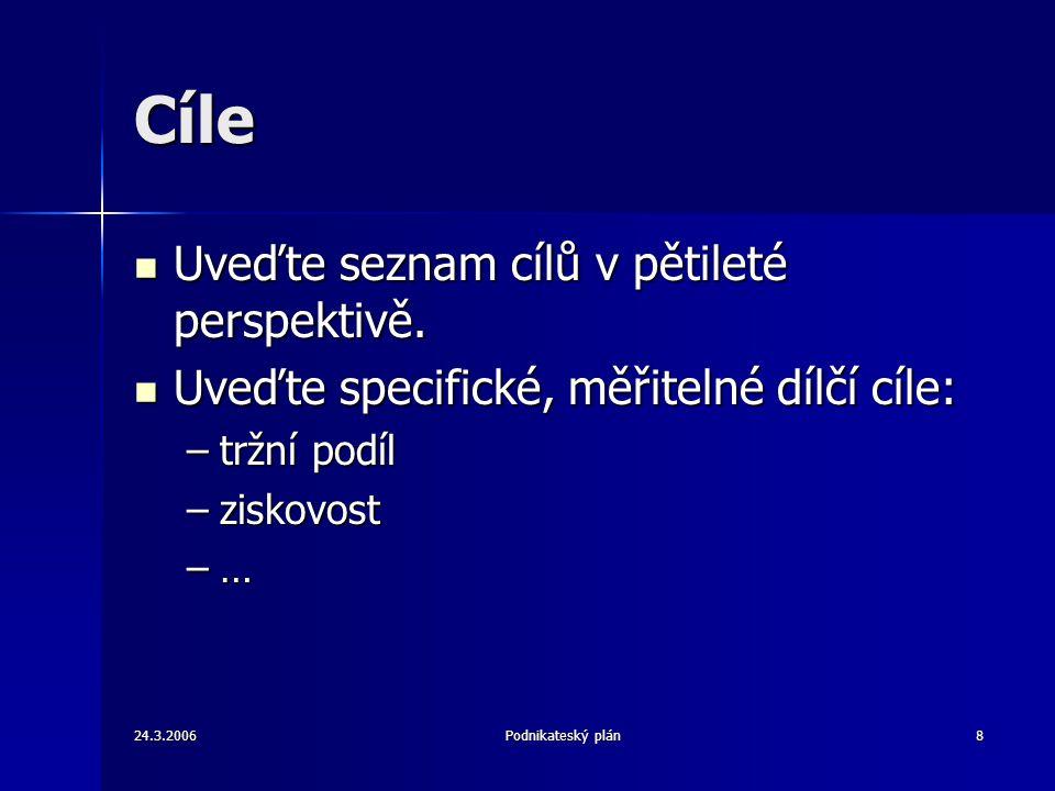 24.3.2006Podnikateský plán8 Cíle Uveďte seznam cílů v pětileté perspektivě.