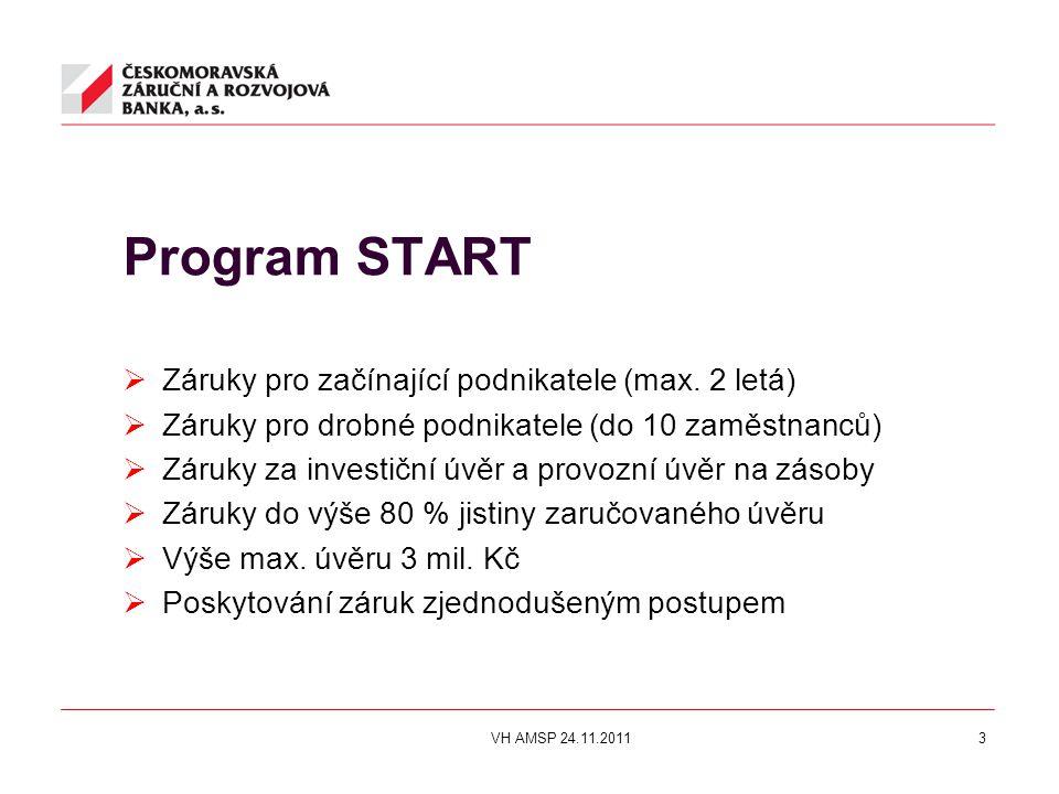 Program START  Záruky pro začínající podnikatele (max. 2 letá)  Záruky pro drobné podnikatele (do 10 zaměstnanců)  Záruky za investiční úvěr a prov