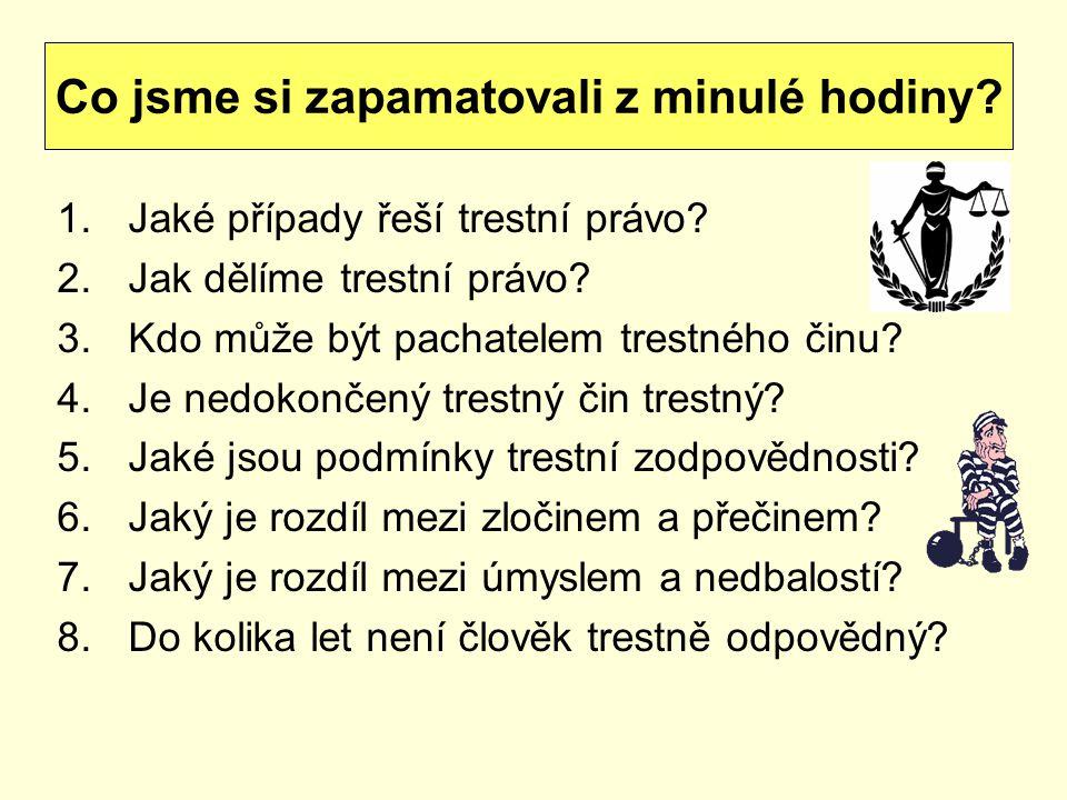 sankce za spáchání trestného činu 12 druhů trestů: Jaké znáte druhy trestů.