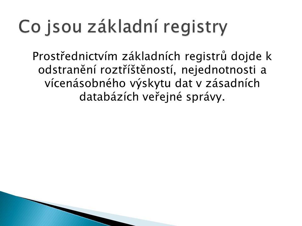 Prostřednictvím základních registrů dojde k odstranění roztříštěností, nejednotnosti a vícenásobného výskytu dat v zásadních databázích veřejné správy