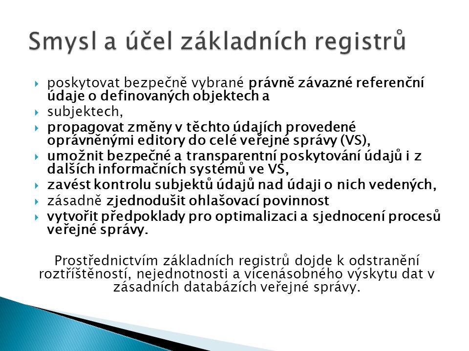  poskytovat bezpečně vybrané právně závazné referenční údaje o definovaných objektech a  subjektech,  propagovat změny v těchto údajích provedené o