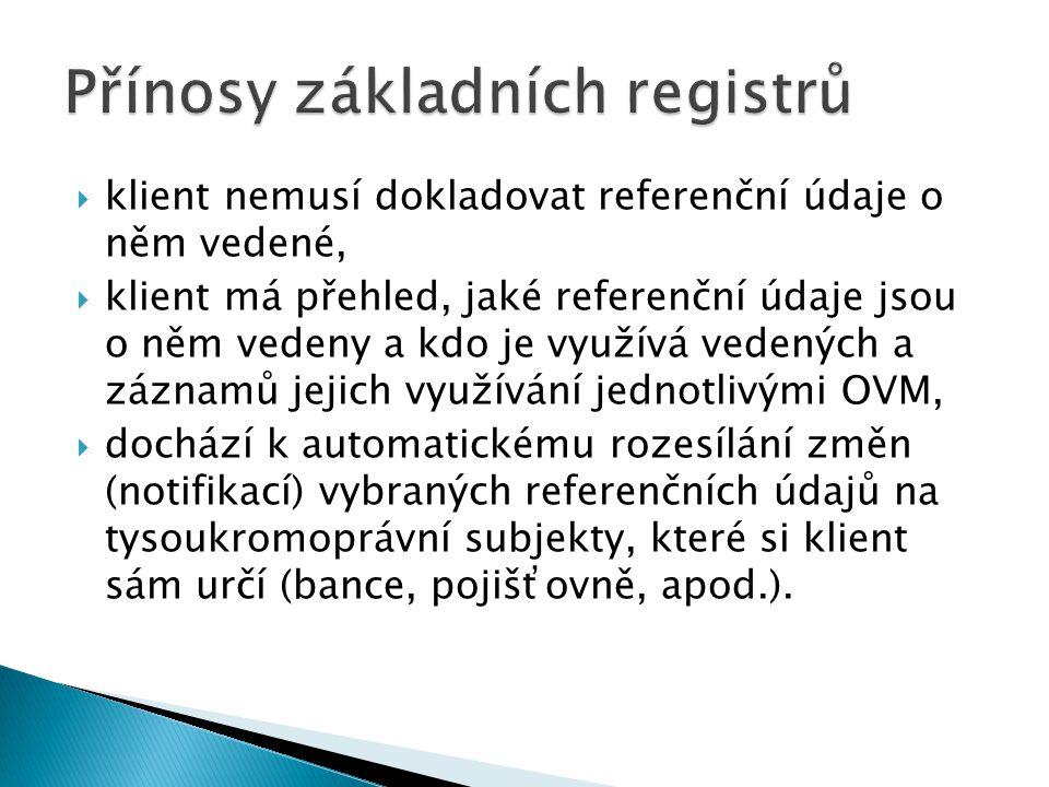  klient nemusí dokladovat referenční údaje o něm vedené,  klient má přehled, jaké referenční údaje jsou o něm vedeny a kdo je využívá vedených a záz