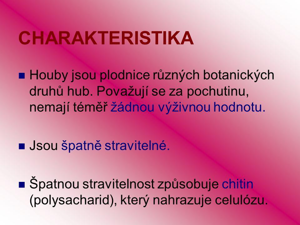 CHARAKTERISTIKA Houby jsou plodnice různých botanických druhů hub. Považují se za pochutinu, nemají téměř žádnou výživnou hodnotu. Jsou špatně stravit