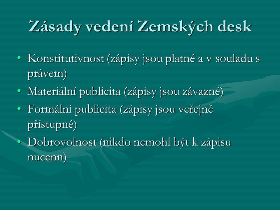 Zásady vedení Zemských desk Konstitutivnost (zápisy jsou platné a v souladu s právem)Konstitutivnost (zápisy jsou platné a v souladu s právem) Materiá