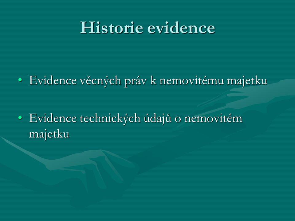 Historie evidence Evidence věcných práv k nemovitému majetkuEvidence věcných práv k nemovitému majetku Evidence technických údajů o nemovitém majetkuE