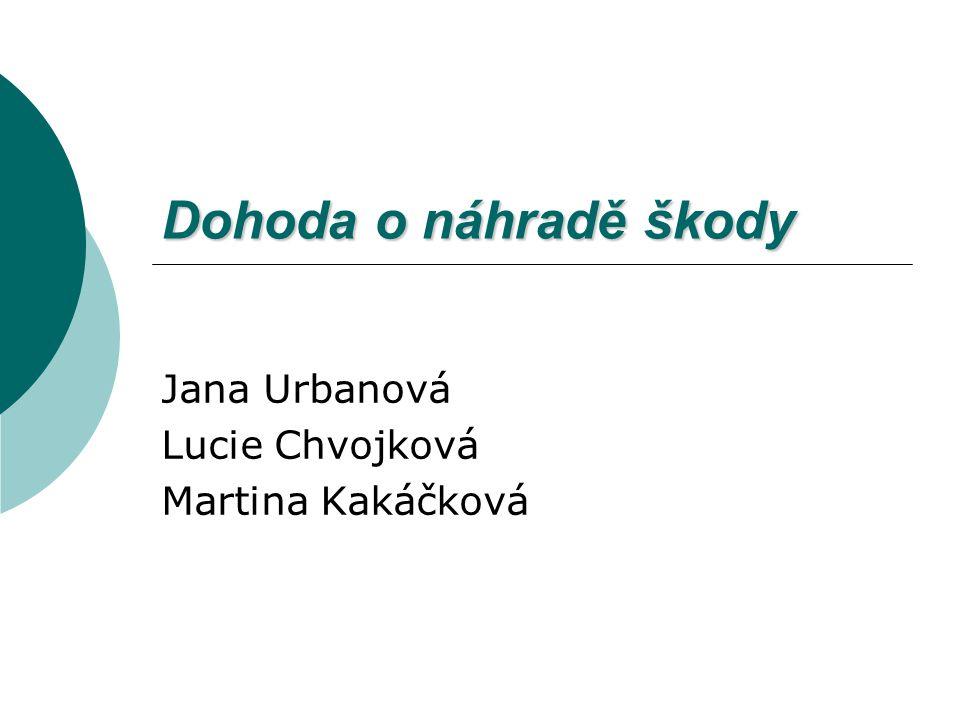 Dohoda o náhradě škody Jana Urbanová Lucie Chvojková Martina Kakáčková