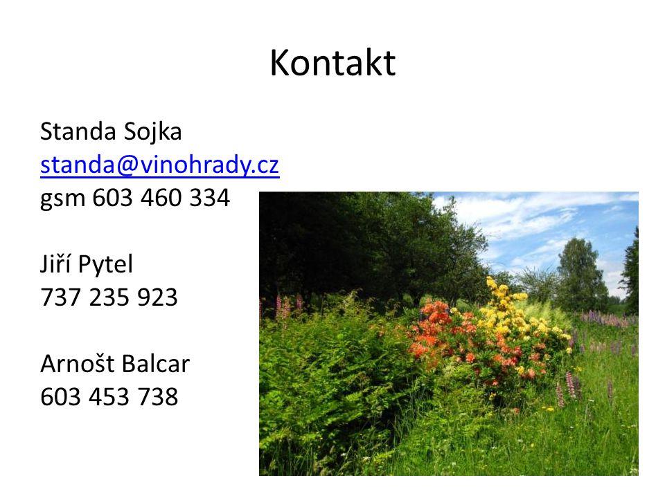 Kontakt Standa Sojka standa@vinohrady.cz gsm 603 460 334 Jiří Pytel 737 235 923 Arnošt Balcar 603 453 738