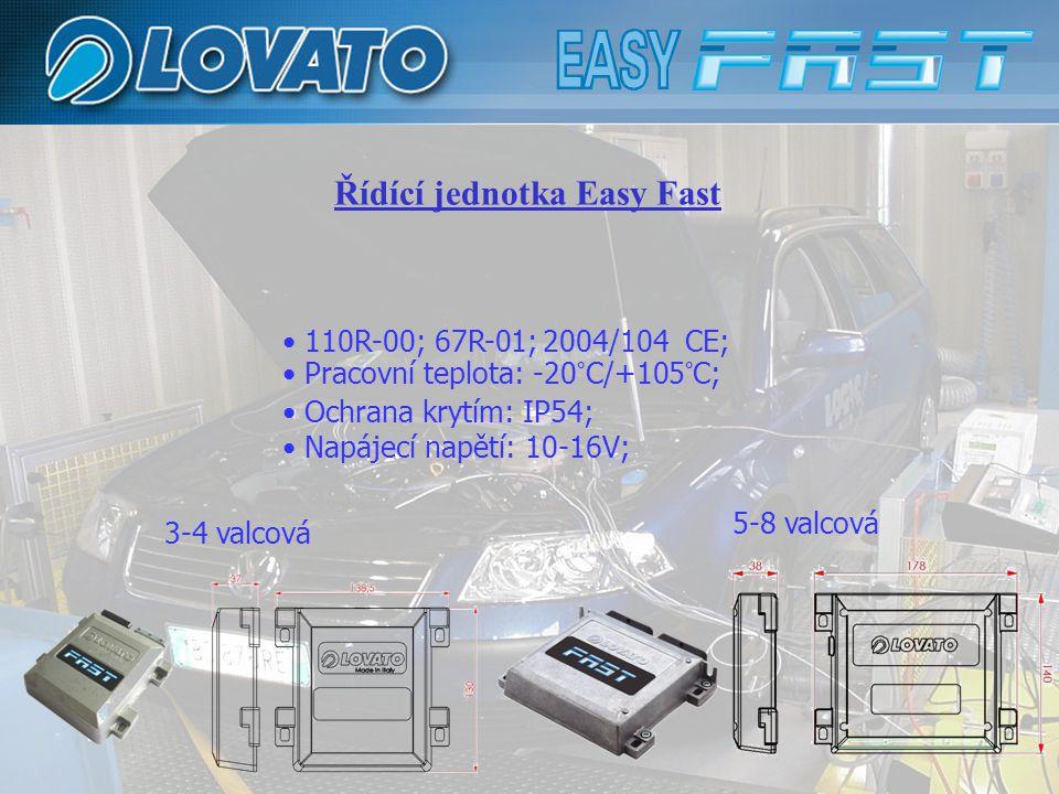 Řídící jednotka Easy Fast 110R-00; 67R-01; 2004/104 CE; Pracovní teplota: -20°C/+105°C; Ochrana krytím: IP54; Napájecí napětí: 10-16V; 3-4 valcová 5-8
