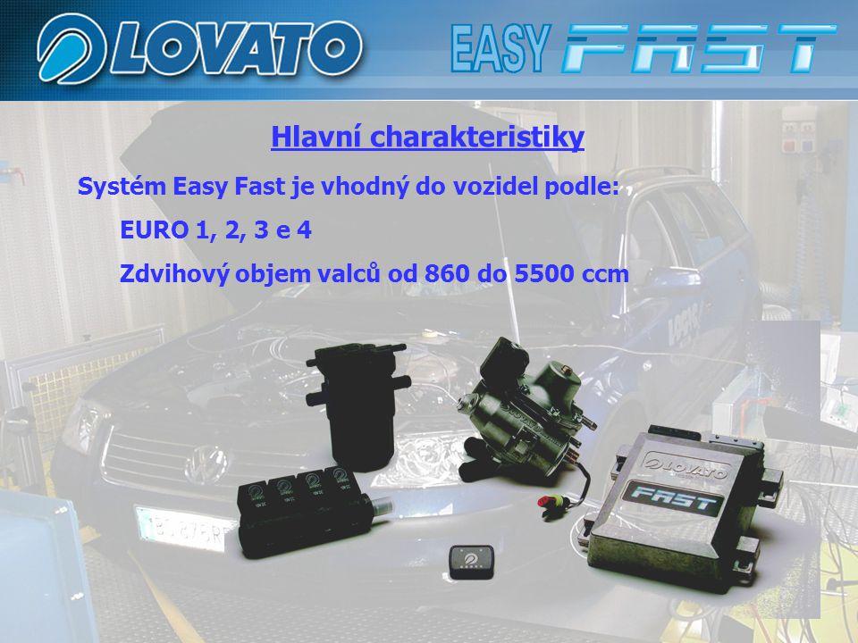 Systém Easy Fast je vhodný do vozidel podle: EURO 1, 2, 3 e 4 Zdvihový objem valců od 860 do 5500 ccm Hlavní charakteristiky