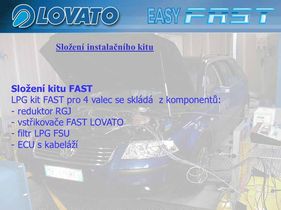 Složení instalačního kitu Složení kitu FAST LPG kit FAST pro 4 valec se skládá z komponentů: - reduktor RGJ - vstřikovače FAST LOVATO - filtr LPG FSU - ECU s kabeláží