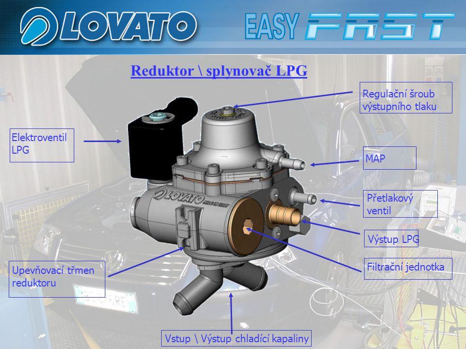 Reduktor \ splynovač LPG Elektroventil LPG Filtrační jednotka Regulační šroub výstupního tlaku MAP Přetlakový ventil Výstup LPG Vstup \ Výstup chladící kapaliny Upevňovací třmen reduktoru
