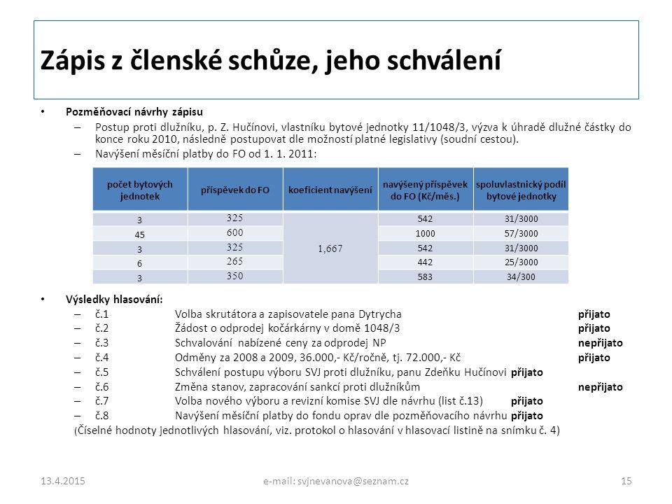 Zápis z členské schůze, jeho schválení Pozměňovací návrhy zápisu – Postup proti dlužníku, p. Z. Hučínovi, vlastníku bytové jednotky 11/1048/3, výzva k