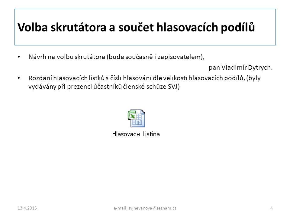 Volba skrutátora a součet hlasovacích podílů Návrh na volbu skrutátora (bude současně i zapisovatelem), pan Vladimír Dytrych. Rozdání hlasovacích líst