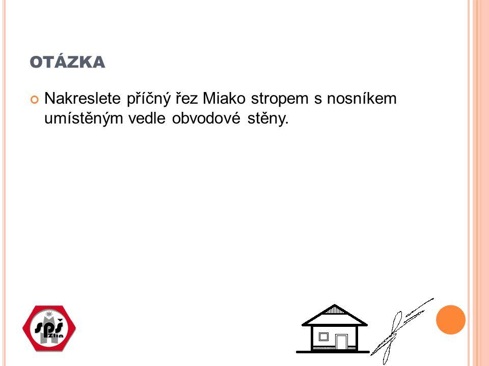 OTÁZKA Nakreslete příčný řez Miako stropem s nosníkem umístěným vedle obvodové stěny.