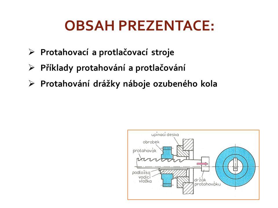  Protahovací a protlačovací stroje  Příklady protahování a protlačování  Protahování drážky náboje ozubeného kola OBSAH PREZENTACE: