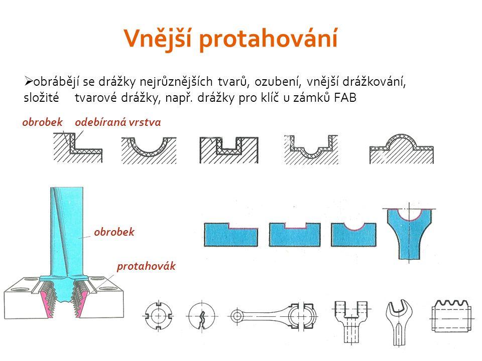  obrábějí se drážky nejrůznějších tvarů, ozubení, vnější drážkování, složité tvarové drážky, např.