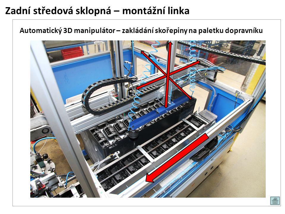 Zadní středová sklopná – montážní linka Automatický 3D manipulátor – zakládání skořepiny na paletku dopravníku